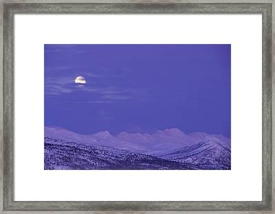 Usa, Alaska, Alaska Range, Full Moon Framed Print by Gerry Reynolds
