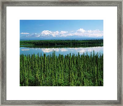 Usa, Alaska, Willow Lake And Mt Framed Print by Adam Jones