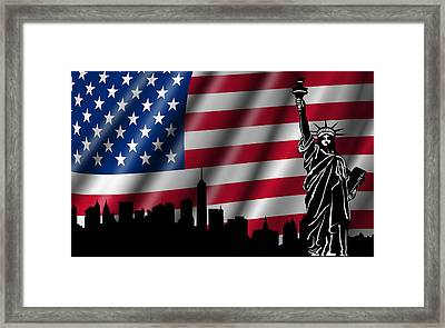 Usa American Flag With Statue Of Liberty Skyline Silhouette Framed Print by David Gn