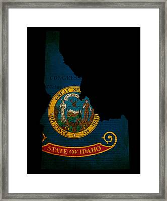 Usa American Idaho State Map Outline With Grunge Effect Flag And Framed Print by Matthew Gibson