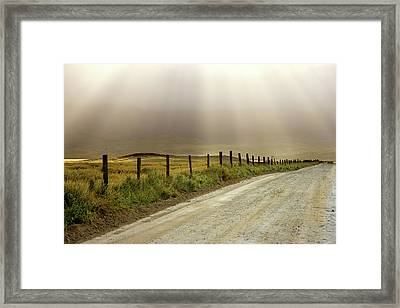 Usa, California Country Road Lit By Sun Framed Print by Jaynes Gallery
