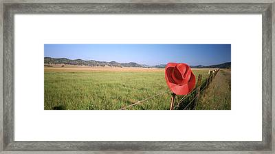 Usa, California, Red Cowboy Hat Hanging Framed Print by Panoramic Images