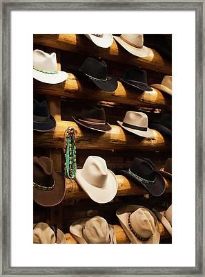 Usa, Colorado, Aspen, Cowboy Hats, Kemo Framed Print by Walter Bibikow