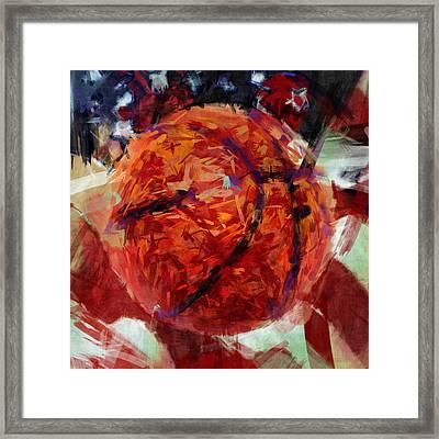 Usa Flag And Basketball Abstract Framed Print by David G Paul