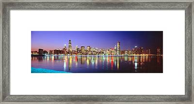 Usa, Illinois, Chicago, Night Framed Print by Panoramic Images