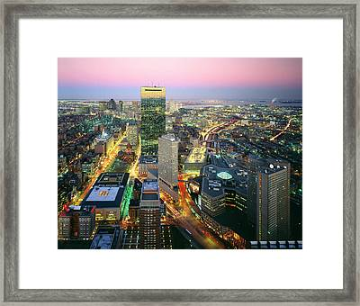 Usa, Massachusetts, Boston, Night View Framed Print by Tips Images