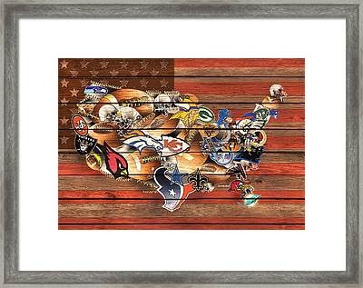 Usa Nfl Map Collage 10 Framed Print by Bekim Art