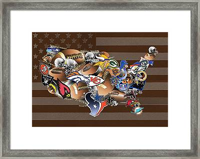 Usa Nfl Map Collage 2 Framed Print by Bekim Art
