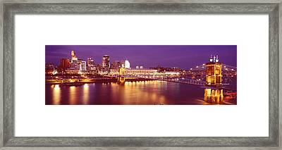 Usa, Ohio, Cincinnati, Night Framed Print by Panoramic Images