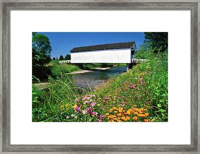Usa, Oregon Gallon House Covered Bridge Framed Print by Jaynes Gallery