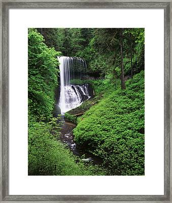 Usa, Oregon, Middle North Falls, Silver Framed Print by Adam Jones
