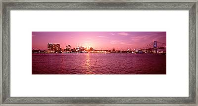 Usa, Pennsylvania, Philadelphia At Dusk Framed Print by Panoramic Images