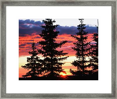 Usa, Wyoming, View Of Sunrise Framed Print by Scott T. Smith
