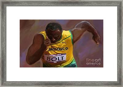 Usain Bolt 2012 Olympics Framed Print by Vannetta Ferguson