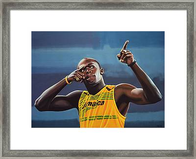 Usain Bolt Painting Framed Print by Paul Meijering