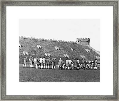 Usc At Stagg Field Practice Framed Print by Underwood Archives