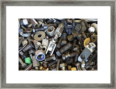 Used Nuts And Bolts Framed Print by Sami Sarkis