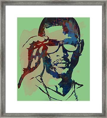 Usher Raymond Iv  - Stylised Pop Art Sketch Poster Framed Print by Kim Wang
