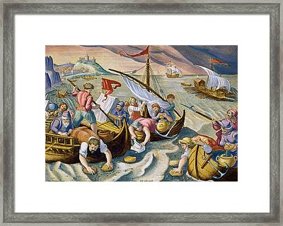 Using Sponges To Collect Naphtha From The Surface Of The Waves Framed Print by Jan Van Der Straet
