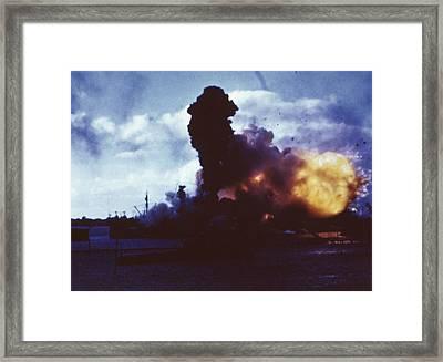 Uss Arizona Burns At Pearl Harbor Framed Print by Everett