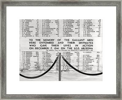 U.s.s. Arizona Pearl Harbor Memorial Framed Print by Barbara West