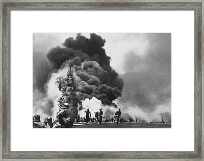 Uss Bunker Hill Kamikaze Attack  Framed Print by War Is Hell Store