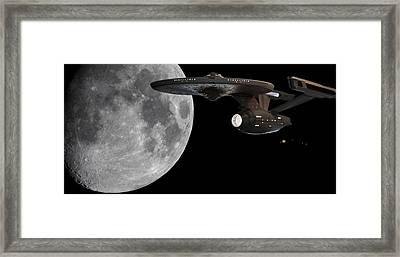 Uss Enterprise With The Moon And Jupiter Framed Print by Jason Politte