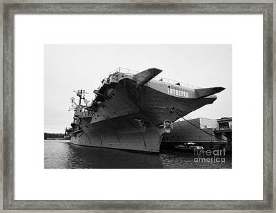 Uss Intrepid Aircraft Carrier At The Intrepid Sea Air Space Museum New York City Framed Print by Joe Fox