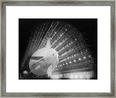 Uss Macon In Hangar One Framed Print by Underwood Archives