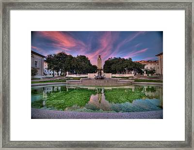 Ut Tower Sunset Framed Print by Preston Broadfoot