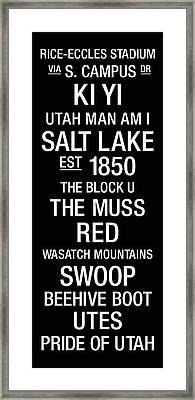 Utah College Town Wall Art Framed Print by Replay Photos