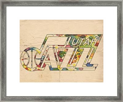 Utah Jazz Retro Poster Framed Print by Florian Rodarte
