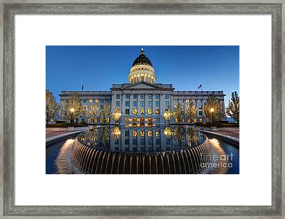 Utah State Capitol In Reflecting Fountain At Dusk Framed Print by Gary Whitton