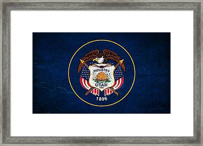 Utah State Flag On Canvas Framed Print by Dan Sproul