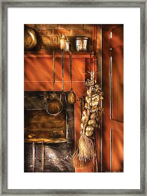 Utensils - Garlic And Spoons Framed Print by Mike Savad