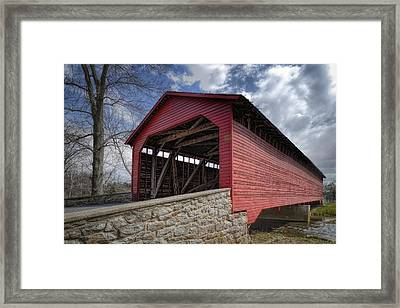 Utica Mills Covered Bridge Framed Print by Joan Carroll