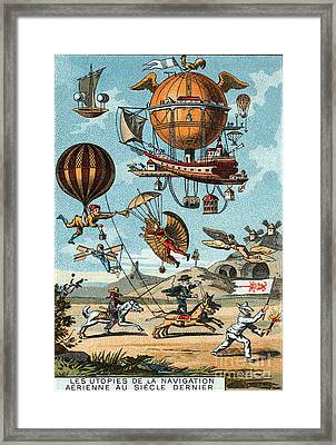 Utopian Flying Machines 19th Century Framed Print by Science Source