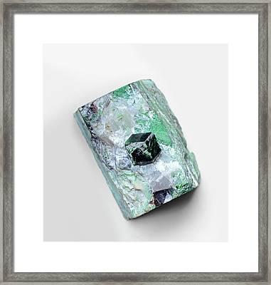 Uvarovite Garnet Crystal In Skarn Matrix Framed Print by Dorling Kindersley/uig