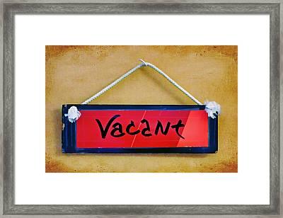 Vacant Framed Print by Nikolyn McDonald