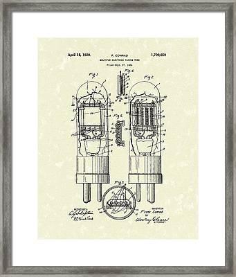 Vacuum Tube 1929 Patent Art Framed Print by Prior Art Design