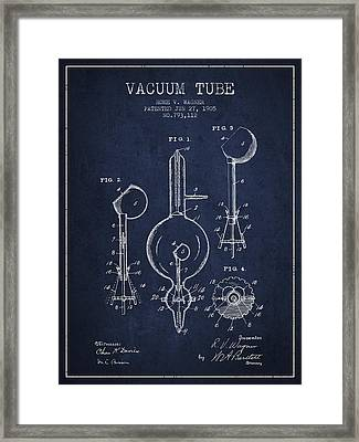 Vacuum Tube Patent From 1905 - Navy Blue Framed Print by Aged Pixel