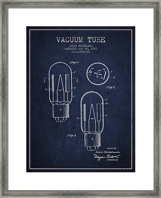 Vacuum Tube Patent From 1927 - Navy Blue Framed Print by Aged Pixel