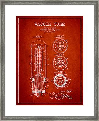 Vacuum Tube Patent From 1928 - Red Framed Print by Aged Pixel