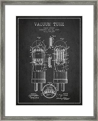 Vacuum Tube Patent From 1929 - Charcoal Framed Print by Aged Pixel