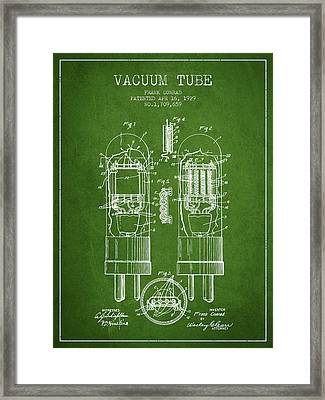 Vacuum Tube Patent From 1929 - Green Framed Print by Aged Pixel