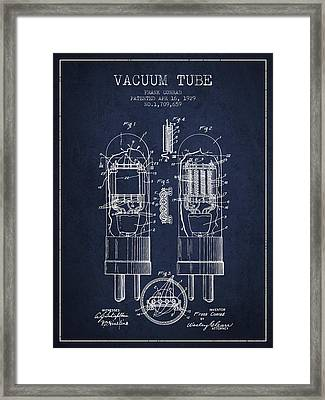 Vacuum Tube Patent From 1929 - Navy Blue Framed Print by Aged Pixel
