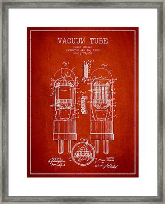 Vacuum Tube Patent From 1929 - Red Framed Print by Aged Pixel