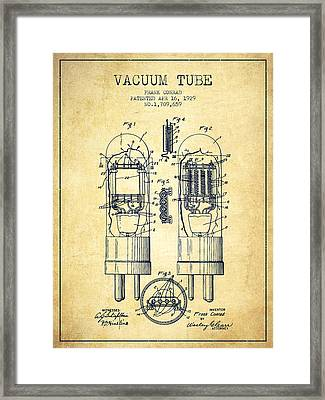 Vacuum Tube Patent From 1929 - Vintage Framed Print by Aged Pixel