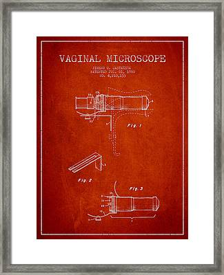 Vaginal Microscope Patent From 1980 - Red Framed Print by Aged Pixel