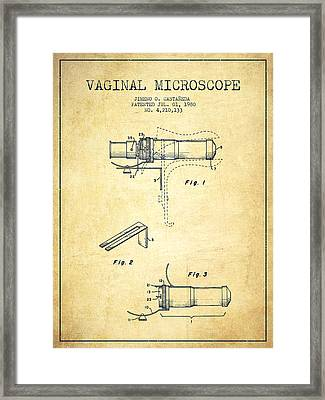 Vaginal Microscope Patent From 1980 - Vintage Framed Print by Aged Pixel